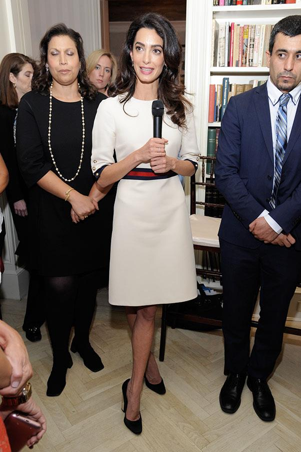 <strong>What:</strong> A belted white dress <br><br> <strong>When:</strong> September 17, 2016 <br><br> <strong>Where:</strong> Women in the World reception hosted by the U.N.