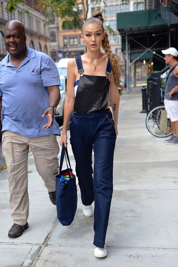 The model wore head-to-toe Tommy x Gigi as she went to celebrate Tommy Hilfiger's new collection.