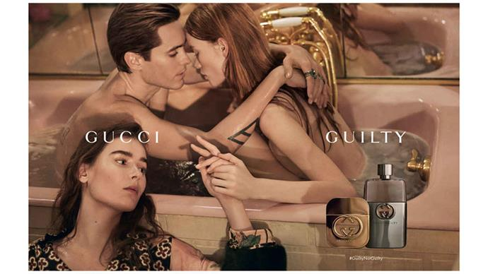 Jared Leto, Julia Hafstrom and Vera Van Erp for the Gucci 'Guilty' fragrance, shot by Glen Luchford.