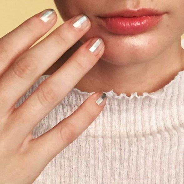 """BTS and real close up on the Quick Silver story now out in @nylonmag! To get this nail look all you need is a my Miss Pop x @tattify Metallic Nail Art Tattoos is Holla-graphic. - <a href=""""https://www.instagram.com/p/BDj_M1Vkd-h/"""">@misspopnails</a>"""