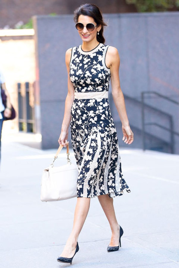 <strong>What: </strong>A black and nude Michael Kors floral dress, white bag, black heeled pumps and oversized sunglasses <br><br> <strong>When:</strong> September 26, 2016 <br><br> <strong>Where:</strong> In NYC