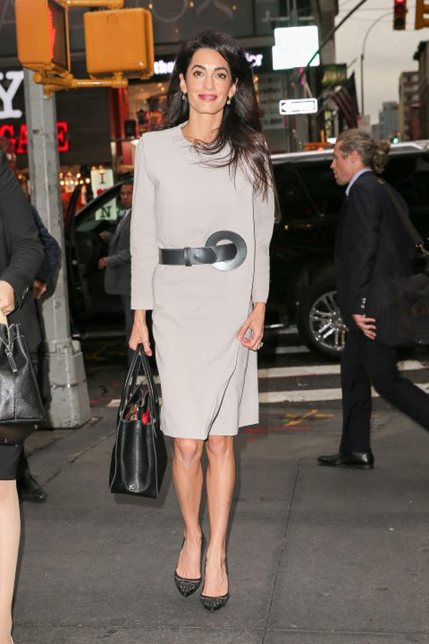 <strong>What:</strong> An oversized belt over a long-sleeved knee-length dress, with pointed toe pumps and a black leather tote <br><br> <strong>When:</strong> September 20, 2016 <br><br> <strong>Where:</strong> In midtown NYC