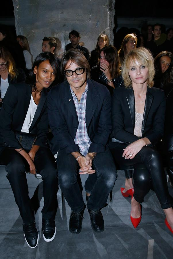 Liya Kebede, Mario Sorrenti and Amber Valletta at Saint Laurent