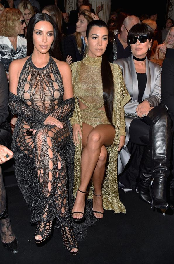 Kim Kardashian, Kourtney Kardashian and Kris Jenner at Balmain