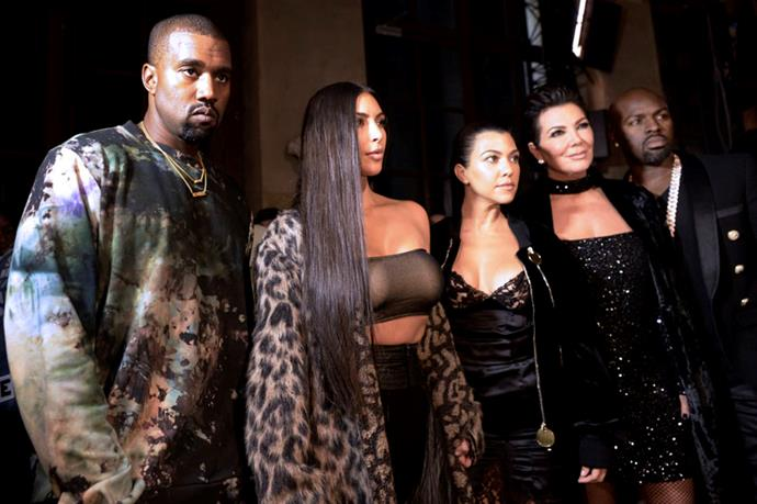 Kanye West, Kim Kardashian, Kourney Kardashiand and Kris Jenner at Off-White
