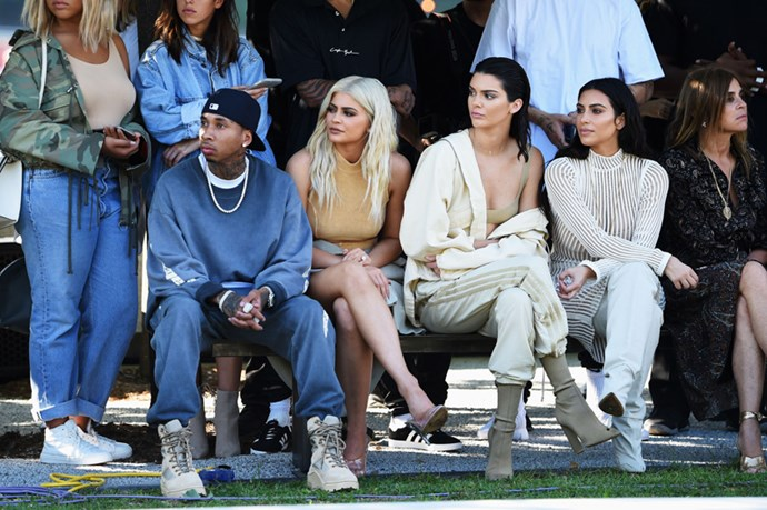 Tyga, Kylie Jenner, Kendall Jenner and Kim Kardashian at Yeezy Season 4.