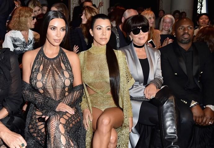 Kim Kardashian, Kourtney Kardashian and Kris Jenner at Balmain.