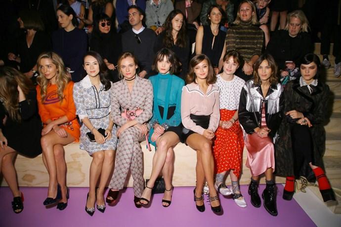 Jessica Rothe ,Zhang Ziyi,Diane Kruger,Stacy Martin, Ella Purnell and Mackenzie Leigh,Alexa Chung and Soko at Miu Miu.
