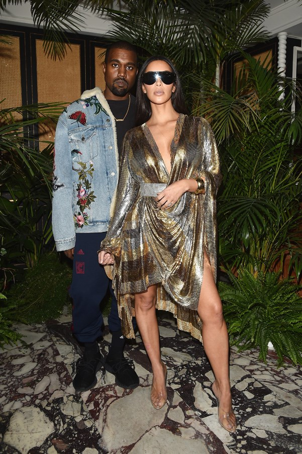 Kanye West and Kim Kardashian West at the Balmain after party.