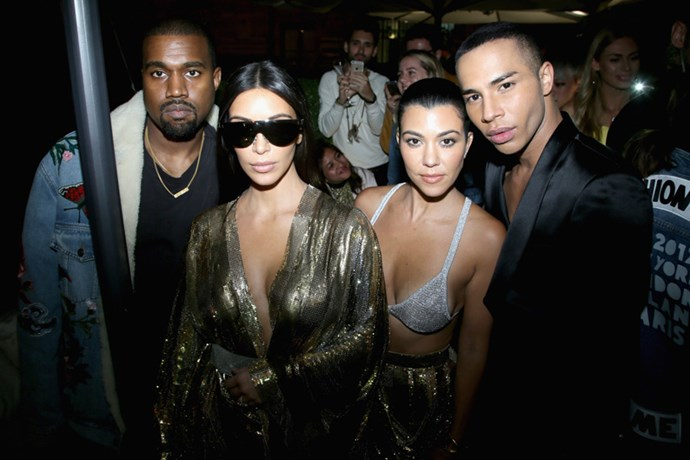 Kanye West, Kim Kardashian West, Kourtney Kardashian, and Olivier Rousteing at the Balmain after party.
