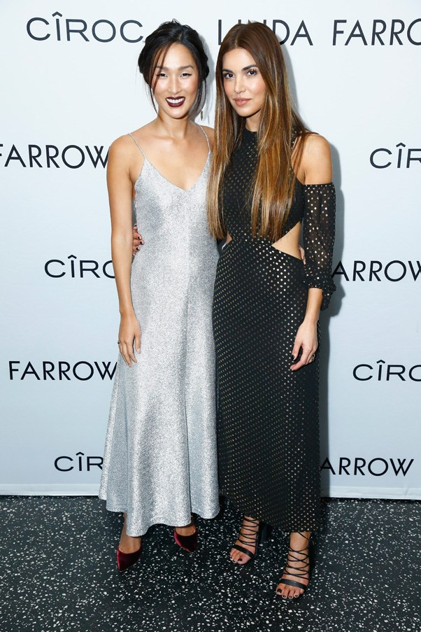 Nicole Warne and Negin Mirsalehi at the Linda Farrow after party.