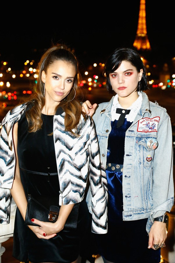 Jessica Alba and Soko at the Longchamp Maison Saint-Honore reopening party.