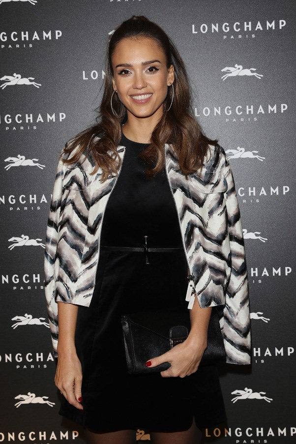 Jessica Alba at the Longchamp Maison Saint-Honore reopening party.