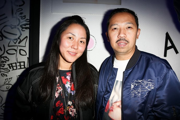 Carol Lim and Humberto Leon at the Kenzo X M.A.C. after party.