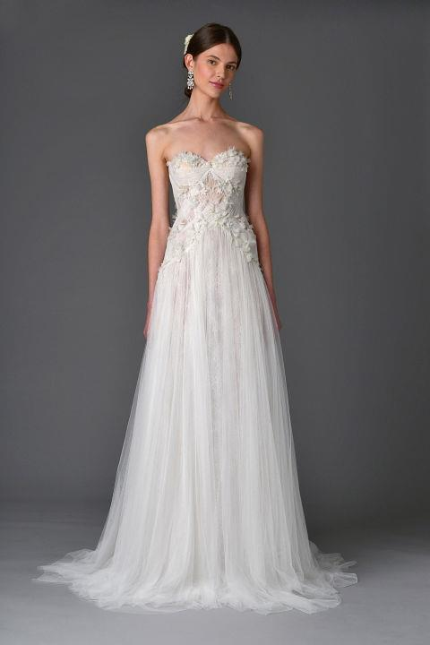 """<strong>MARCHESA</strong> <br><br> """"Lotus"""" gown, $6,495. <br><br> Markingramatelier.com"""
