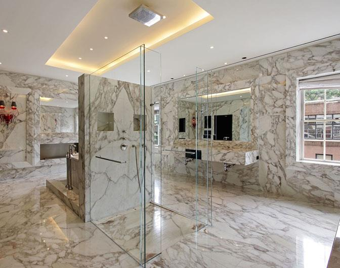Yes, that is a completely marble bathroom with a fireplace.