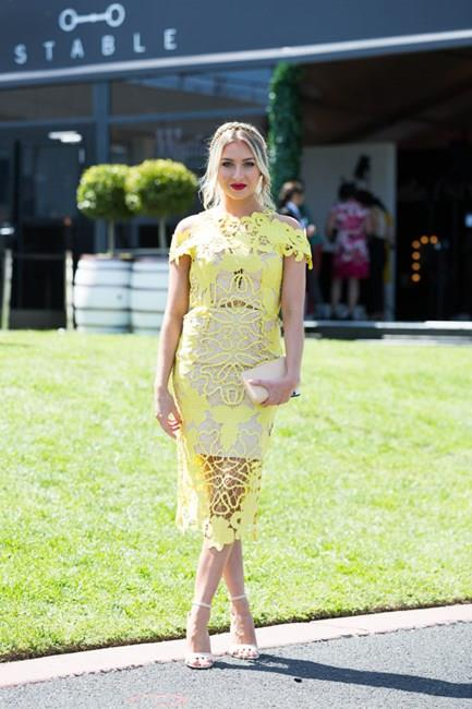 <strong>Lace</strong> <br><br> Guipure lace has been a strong contender at the spring races so far, worn in bold summer shades of red and blue. With a thick texture, it stands out trackside. <br><br> Nina Duiker, Caulfield Guineas Day