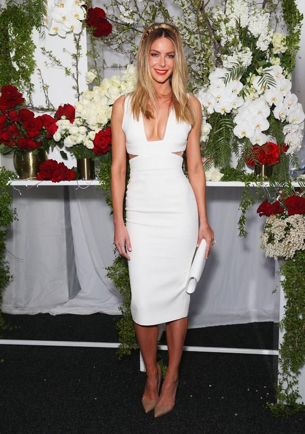 <strong>All White</strong> <br><br> While lace looks tended to be bright, the overwhelming racing trend so far has been all white. Our favourite look so far? Jennifer Hawkins' figure hugging ensemble finished with a rouge lip. <br><br> Jennifer Hawkins, Colgate Optic White Stakes Day