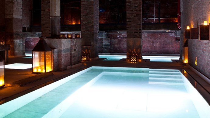 <strong>Aire Ancient Baths </strong><br><br> When it comes to spas in New York City, Aire Ancient Baths is among the best, and yet isn't wildly busy or overrun — and who wants that when they're there to relax? Enter the moody, low-lit den and take your pick of pools. There are salt baths, hot baths, ice baths — basically everything short of a bubble bath to soothe and soak your weary soul. Then, because hey, you're in pampering mode, enjoy a thoroughly sensational massage treatment to send you off to nirvana.
