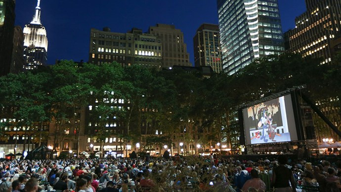 <strong>Outdoor Films at Bryant Park</strong> <br><br> Every year, Bryant Park hosts a Summer Film Festival during which it screens classic and indie films on a large screen on the main lawn. Bring a blanket and a picnic lunch, and watch some of your favourite movies in a way that definitely beats Netflix binging on your couch.
