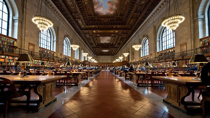 <strong>New York Public Library </strong><br><br> Whether you come for the books, for the quiet, or to simply stare at the impressive ceiling the Rose Main Reading Room at the New York Public Library's iconic Stephen A. Schwarzman Building (the one with the lions, right next door to Bryant Park) is a necessary stop for anyone visiting New York with an appreciation for preserved culture and a love of truly outstanding libraries.