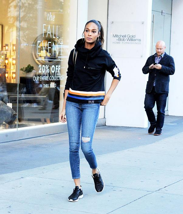 "<strong>P.E. Nation</strong> <br><br> Victoria's Secret model Joan Smalls wore the P.E. Nation sweatshirt when out in New York. <br><br> Shop the look <a href=""https://pe-nation.com/product/delta-time-sweat-in-black/"">here</a>. <br><br> Image: Splash."