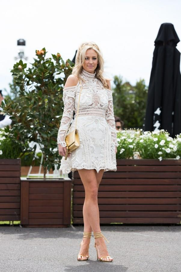 <strong>Lace</strong> <br><br> Guipure lace has been a strong contender at the spring races so far, worn in bold summer shades of red and blue. With a thick texture, it stands out trackside. <br><br> Helen O'Connor, Caulfield Cup Day