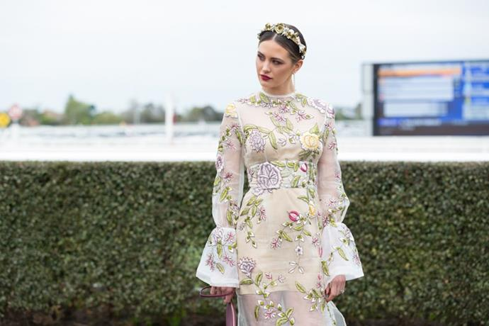 <strong>Floral Headwear </strong> <br><br> The sun-soaked spring weather has been reflected in racing-goers style as many have opted for a delicate flower wreath to finish off their looks. <br><br> Jesinta Campbell, Caulfield Cup Day