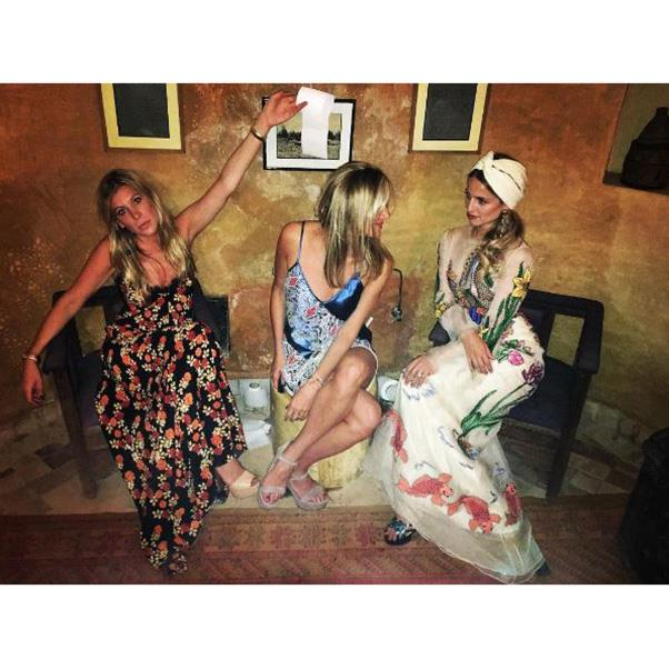 """<strong>Dianna Agron in Gucci and two friends at a pre-wedding event</strong><br><br> Instagram: <a href=""""https://www.instagram.com/p/BLoYohtjcml/?taken-by=kylehotchkisscarone"""">@kylehotchkisscarone</a>"""