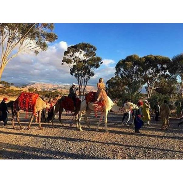 """<strong>Guests travelled by camel</strong><br><br> Instagram: <a href=""""https://www.instagram.com/p/BLpJ12mAO9-/?taken-by=queendiannaagron"""">@queendiannagron</a>"""