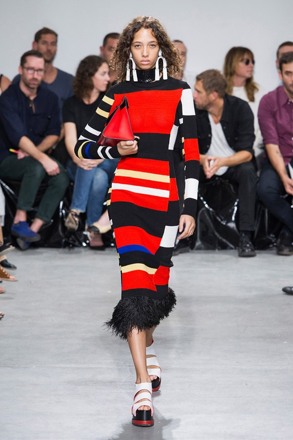 Moto Crossing <br><br> Primary-hued stripes, racing flag checks and athleisure inspired silhouettes from Fendi, Off-White and Sonia Rykiel combine to create the speed racer-worthy looks that show no signs of slowing down. Pictured: Proenza Schouler