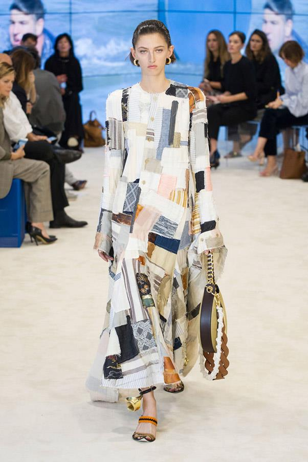 <strong>Wardrobe Wanderlust</strong> <br><br> Printed, patch-worked, sweeping, ruched and layered dresses at Cavalli, Chloé and Loewe should come with built in passport holders. These looks are made to travel. Pictured: Loewe
