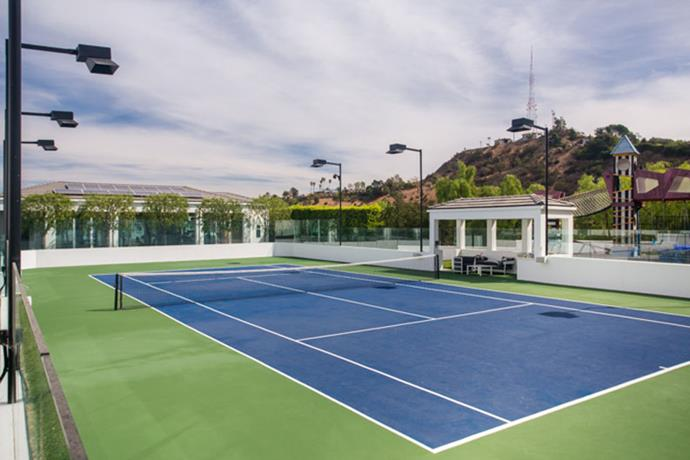 A tennis court in case you get bored with the huge gym and theatre.