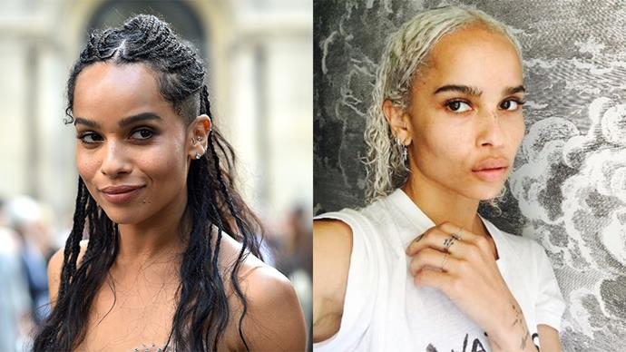 <strong>Zoe Kravitz</strong> <br><br> The singer has switched from her signature dark locks to platinum blonde.