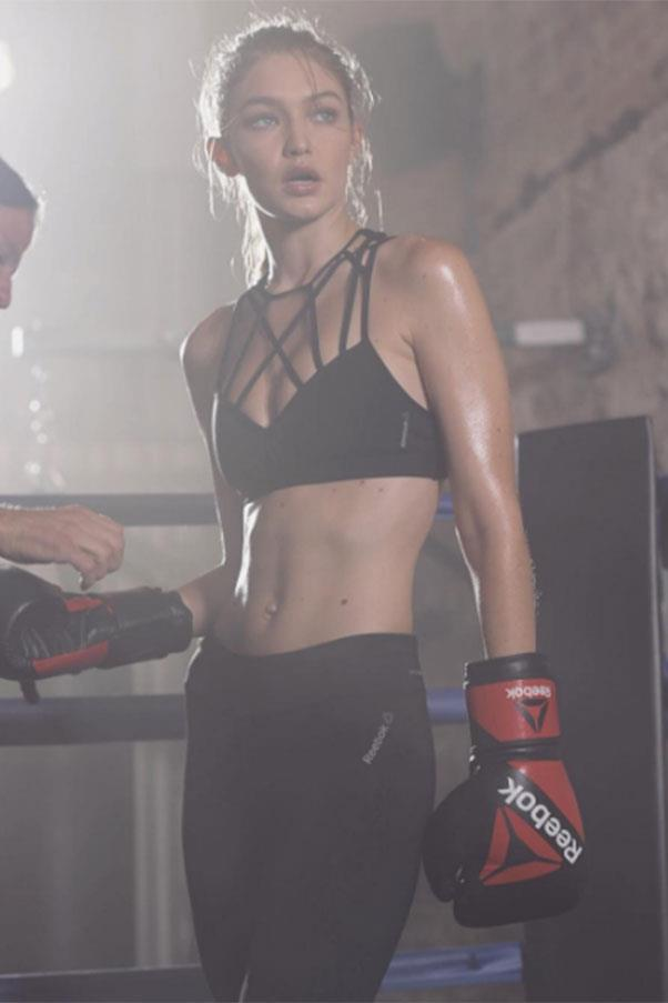 """Gigi Hadid <br><br> Sure, this may have been for a Reebok campaign, but it's no secret Hadid credits boxing for her fit physique. <br><br> Instagram: <a href=""""https://www.instagram.com/p/BLJm1uDD5hx/?taken-by=gigihadid"""">@gigihadid</a>"""