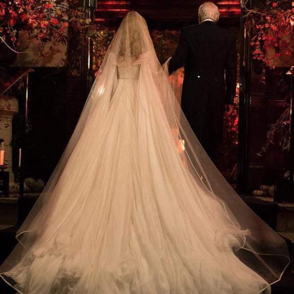 "<strong>The bride's Brandon Maxwell dress</strong><br><br> Instagram: <a href=""https://www.instagram.com/p/BMPnxDajCib/?taken-by=backstagebombshell"">@backstagebombshell</a>"
