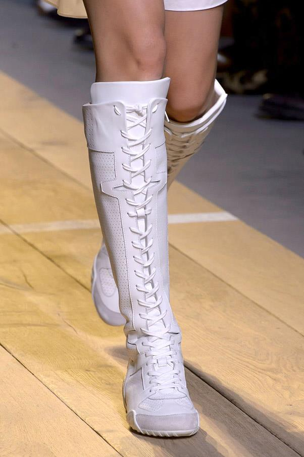 <strong>Varsity Team</strong> <br><br> The athletic inspired boot is one of spring's most unexpected footwear options, from boxer boots at Dior and Versace and built in socks at DKNY they're this season's answer to the sneaker trend. <br> Pictured: Dior