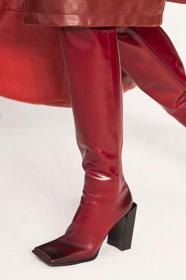 <strong>Warm Weather Leather </strong><br><br> Designers are giving your closet a spring re-boot—offering boots and booties in vibrant shades, neutral, black and animal print for the new season. <br> Pictured: Balenciaga