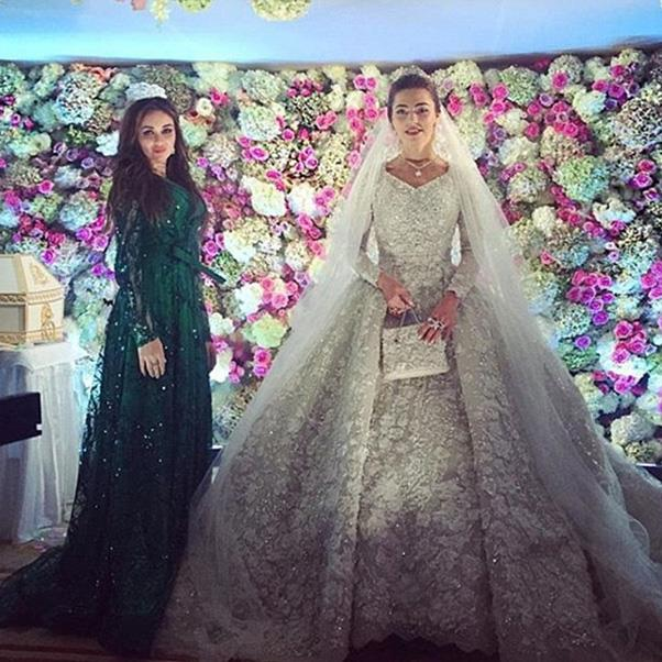 <strong>The extravagant wedding dress</strong><br><br> Wedding one: Khadija Uzhakhovs in Elie Saab.<br><br> Image: Instagram