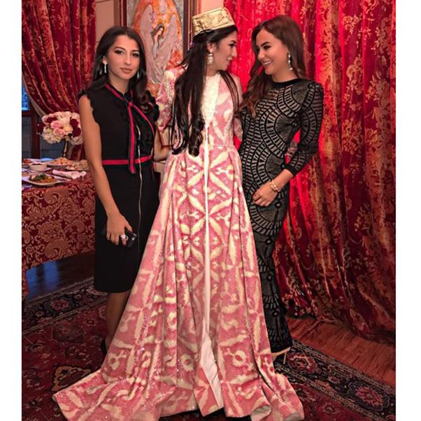 "<strong>The second, traditional wedding dress</strong><br><br> Wedding three: Madina Shokirova <br><br> Instagram: <a href=""https://www.instagram.com/p/BMO03obF9GR/"">@abdullaeva___f</a>"