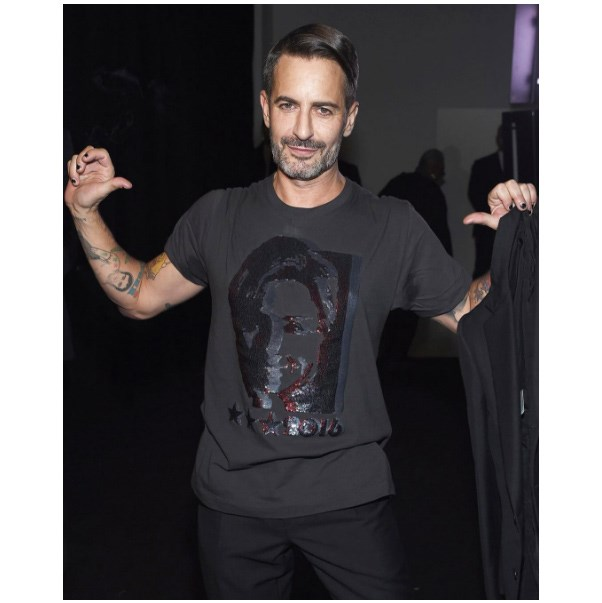 "<strong>Marc Jacobs</strong> <br><br> ""Congratulations to our friend @HillaryClinton #imwithher"" <br><br> Tee: Marc Jacobs <br><br> Image: <a href=""https://www.instagram.com/p/BGZuyTAv5CH/"">@marcjacobs</a>"