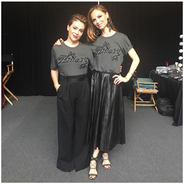"<strong>Alyssa Milano</strong> <br><br> ""I'm planning on wearing my #MadeForHistory tee designed by @GeorginaChapmanMarchesa until November, when we elect the first woman president!!! #ImWithHer"" <br><br> Tee: Marchesa <br><br> Image: <a href=""https://www.instagram.com/p/BII2unogd_x/"">@milano_alyssa </a>"