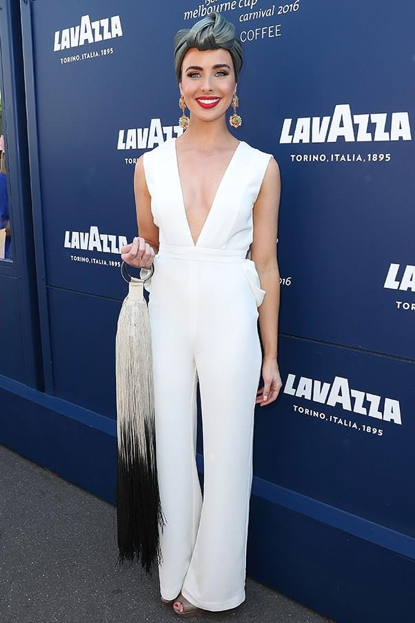 """<strong>Ashleigh Brewer, Crown Oaks Day</strong> <br><br> <em>""""I just love a jumpsuit and this crisp white one is amazing. Although the look is very OTT, it just works so well. Wish I could pull off the turban style head piece…""""</em> — Stella Berry, commercial brand manager"""
