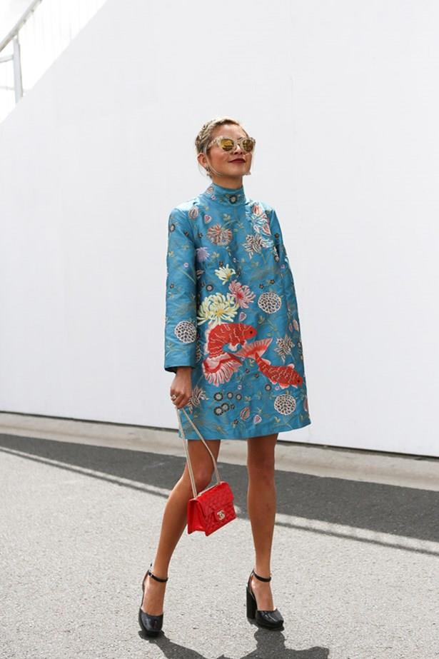 """<strong>Yan Yan Chan, Melbourne Cup</strong> <br><br> <em>""""What a cool look. It would be so hard to pull off but that dress looks fab on her.""""</em> — Stella Berry, commercial brand manager <br><br> <em>""""This is both an unexpected choice but also just the right amount of colour for Cup day.""""</em> — Clare Maclean, fashion features director"""