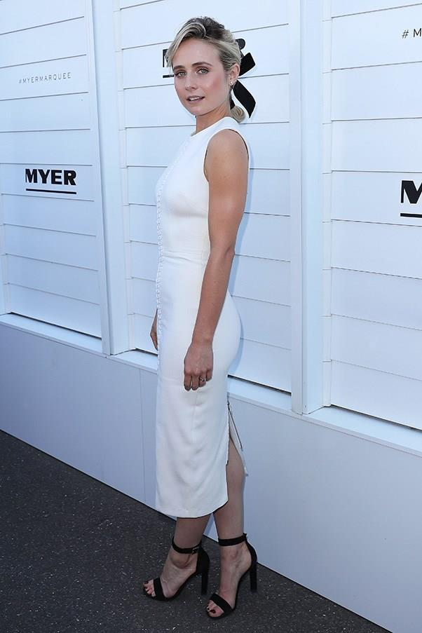 """<strong>Tessa James, Crown Oaks Day</strong> <br><br> <em>""""Love the simplicity of this look.""""</em> — Caroline Tran, Market Editor"""