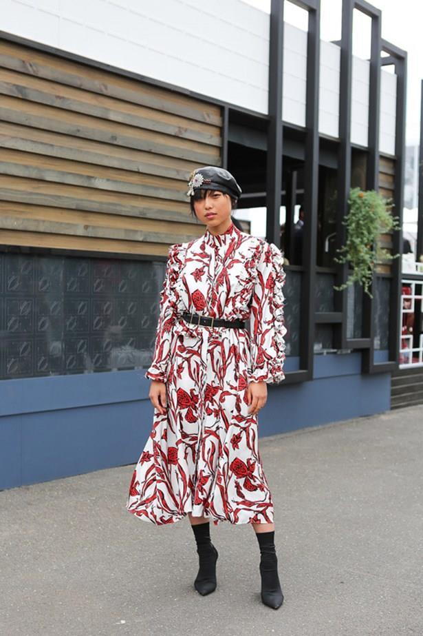 """<strong>Margaret Zhang, Melbourne Cup</strong> <br><br> <em>""""I love the print and ruffle detail of this Ellery dress.""""</em> — Caroline Tran, Market Editor"""