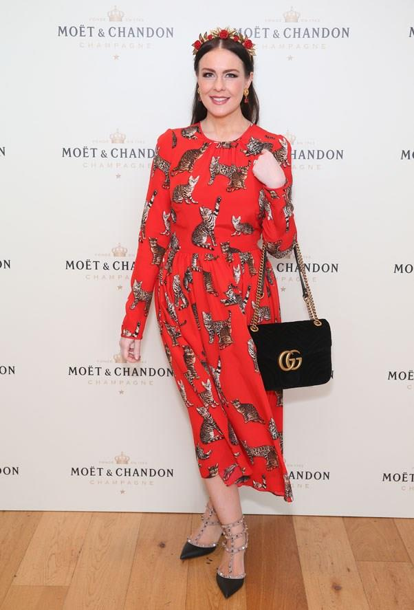 """<strong>Victoria Novak, Stakes Day</strong> <br><br> <em>""""My alter ego: Dolce & Gabbana cat dress and a velvet Gucci bag. I'm a crazy cat lady at heart and I adore the kooky print.""""</em> — Caroline Tran, Market Editor"""