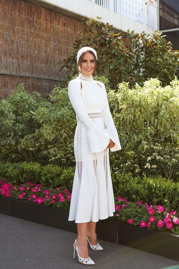 """<strong>Jodi Anasta, Derby Day</strong> <br><br> <em>""""I think Jodi Anasta looked heavenly in Jonathan Simkhai at Derby Day.""""</em> — Grace O'Neill, digital content manager"""