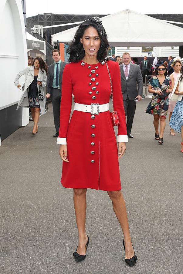 """<strong>Lindy Klim, Melbourne Cup</strong> <br><br> <em>""""Lindy Klim looked great in a restrained Dolce & Gabbana suit dress.""""</em> — Grace O'Neill, digital content manager"""