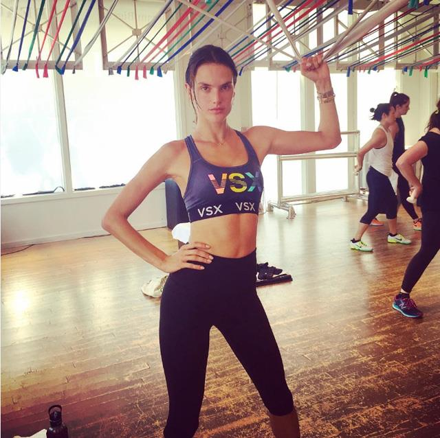 "Alessandra Ambrosio <br><br> VS veteran Ambrosio is a fan of Brazil Butt Lift, which is a combination of ballet, Brazilian martial arts, kickboxing and Brazilian dance. <br><bR> Instagram: <a href=""https://www.instagram.com/alessandraambrosio/"">@alessandraambrosio</a>"